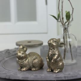 Kaniner stående og sittende - antikkgull 2-pack , hemmetshjarta.no