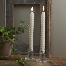 LED Kronelys Flamme Swirl Beige 2,3x25 2-pack , hemmetshjarta.no