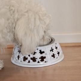 Hund / katteskål enkel - antikk hvit , hemmetshjarta.no
