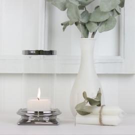 LysLykt med glass Lyx sølv 17 cm , hemmetshjarta.no