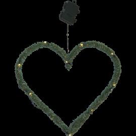 Kunstig Krans Line Heart Batteridrevet Utendørs Varm Hvit 10 Lys 38cm , hemmetshjarta.no