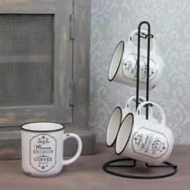 4 kopper i holder - svart / hvit , hemmetshjarta.no