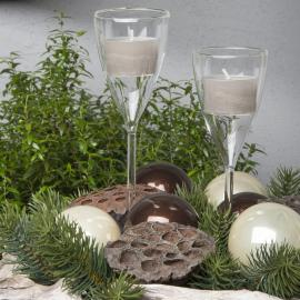 Lysestake Glass Champagne 19x5cm 2-pakke , hemmetshjarta.no