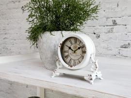 Bordklokke med dekor H16 / L18 / W9 cm antikk krem , hemmetshjarta.no