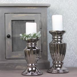 Lysestake Blokklys Luksus 20 cm - sølv , hemmetshjarta.no