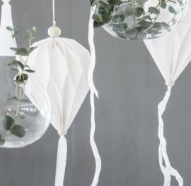 Papirballong med tøyremser 60 cm - vit , hemmetshjarta.no