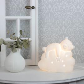Lampe porselen Bjørn 19,2 cm - hvit , hemmetshjarta.no