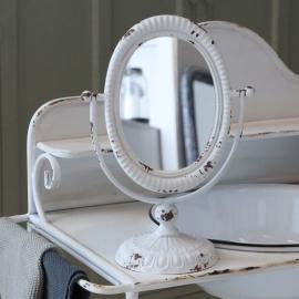 bordspeil på fot H35 / W24 cm antikk hvit , hemmetshjarta.no