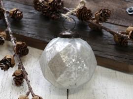 Julekule Ø7 cm antikk hvit 4-pack , hemmetshjarta.no