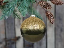 Julekule med gull perle topp Glass Ø10 cm mose 4-pack , hemmetshjarta.no