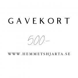 Gavekort - 500:- nok , hemmetshjarta.no