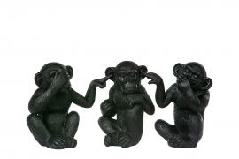 Ape Ikke Se/Høre/snakke svart brun Poly 11x9x13,5cm 1set , hemmetshjarta.no