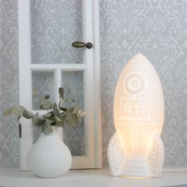 Lampe porselin Romskip 31,5 cm - hvit , hemmetshjarta.no