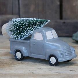Bil med juletre grå 8,5x14,5 cm , hemmetshjarta.no