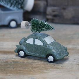 Bil med juletre grønt / glitter 6,5x10,5 cm , hemmetshjarta.no