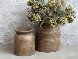 Uke 04 Vase med spor for deco H22,5 / Ø19 cm mørk natur , hemmetshjarta.no