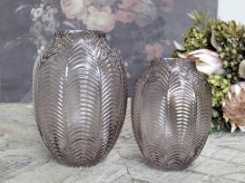 Uke 45 Vase med bladmønster H18 / Ø14 cm taupe , hemmetshjarta.no