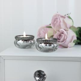 Telysholder med perlekant H3,5 / Ø6 cm antikk sølv , hemmetshjarta.no