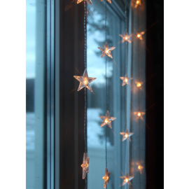Dekorasjonslenke EL Lysgardin Star Varmhvit 30 Lys 90x120cm , hemmetshjarta.no