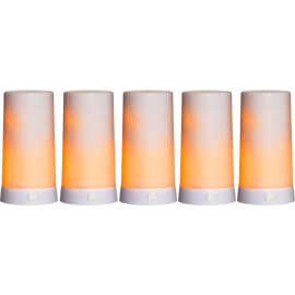 Batteridrevet Blokklys LED Diner Hvit 5st Extra 13cm , hemmetshjarta.no