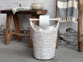 Kurv med toalettpapirholder H40 / Ø30 cm antikk hvit , hemmetshjarta.no