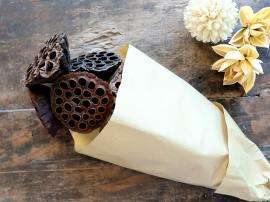 Fleur Ekte Tørket Lotusblomst 6 stk L59 cm semsket skinn i brunt papir , hemmetshjarta.no