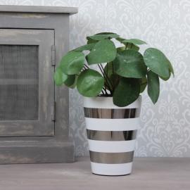 Krukke med striper Luksus 18 cm hvit / sølv , hemmetshjarta.no