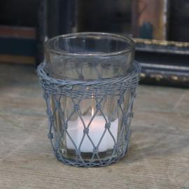 Gl. Fransk Glass med arkivholder H9 / Ø8 cm antikk sink , hemmetshjarta.no