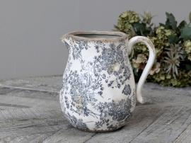 Melun kanne med fransk mønster Keramikk H20 / L20 / B16,5 cm opal , hemmetshjarta.no