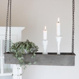 Hengende hylle med kant - antikgrå * , hemmetshjarta.no