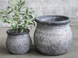 Cholet Krukke med mønster Cement H19 / Ø21,5 cm antikk svart 1 st , hemmetshjarta.no