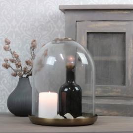 Glasklocka med mässingsfat H26,5 / Ø21,5 cm , hemmetshjarta.no