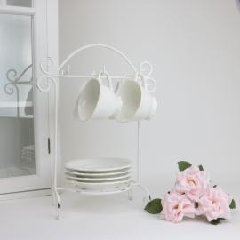 Stativ for kopper og tallerkener H37 / W26 cm antikk hvit , hemmetshjarta.no