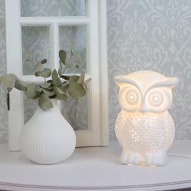 Lamp porselen Ugle 20 cm - hvit , hemmetshjarta.no