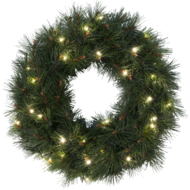 Kunstig Krans Russian Pine EL Utendørs Varm Hvit 30 Lys 50cm , hemmetshjarta.no