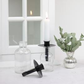 Holder Kronelys flaske - svart 4-pakning , hemmetshjarta.no