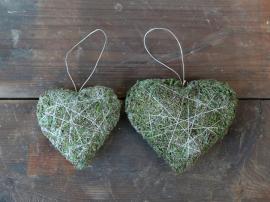 Fleur Moss hjerte med oppheng H12 / L13 / B4,5 cm grønn 1 stk , hemmetshjarta.no