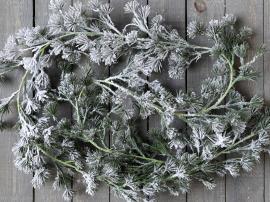 Uke 42 Fleur sedertre girlang med snø L180 cm grønn , hemmetshjarta.no