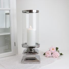 LysLykt med glass Lyx sølv 44 cm , hemmetshjarta.no