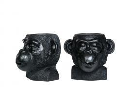 Krukke / Ape Svart Poly 22x22x20cm 1st , hemmetshjarta.no