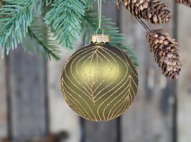 Julekule med gullmønster Glass Ø8 cm mose 4-pack , hemmetshjarta.no