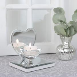 Lysestake krystall på speilet hjerte , hemmetshjarta.no