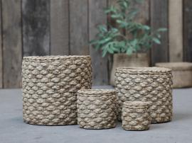 Corte Krukke med kurvmønster H8 / Ø8,5 cm antikk naturlig , hemmetshjarta.no