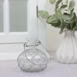 Vase/lysestake Romance med nett 9,5 cm , hemmetshjarta.no