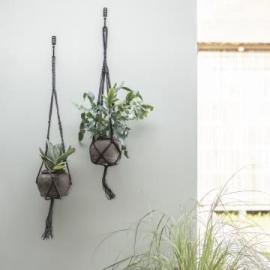 Ampel tau til blomsterpotte 95 cm grå jute , hemmetshjarta.no