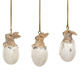 Kaniner i egg Hang Poly Mix 6cm 3-pack , hemmetshjarta.no
