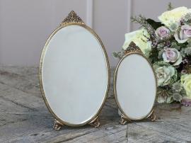 Speil med dekor oval H26 / L15,5 / B0,5 cm antikk messing 1 stk , hemmetshjarta.no