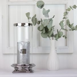 LysLykt med glass Lyx sølv 29,5 cm , hemmetshjarta.no