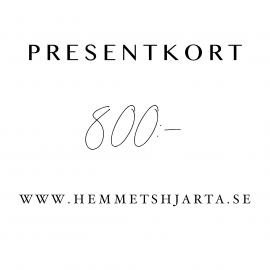 Gavekort - 800:- sek , hemmetshjarta.no