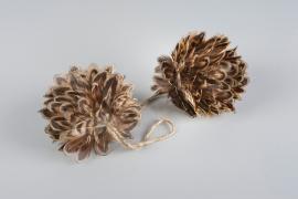 Ball / Fjær brun 8cm 2-pakning , hemmetshjarta.no